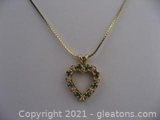 14kt Yellow Gold Emerald Heart Necklace