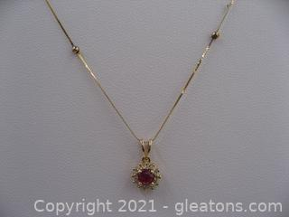 14kt Yellow Ruby and Diamond Necklace