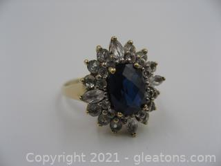 10kt Yellow Gold Lab Created Sapphire Ring