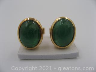 14kt Yellow Gold Emerald Earrings