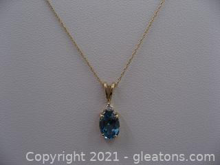14kt Yellow Gold Blue Topaz and Diamond Necklace