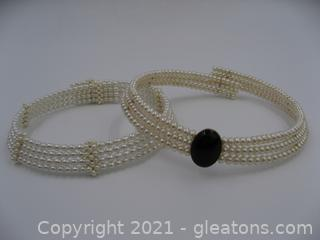 Set of 2 Collar Pearl Necklaces