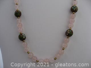 Rose Quartz Beaded Necklace
