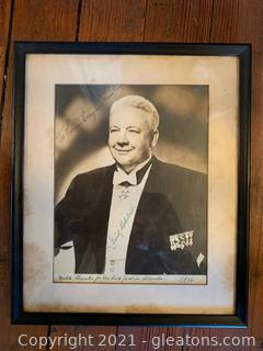 Framed and signed Lauritz Melchior, Danish-American Opera star of the 20's, 30's, 40's,