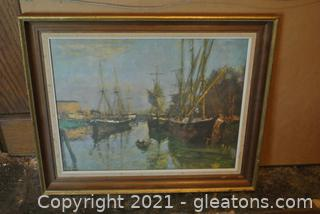 Professionally Framed and Matted Harbor Print