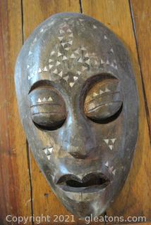 African Wooden Mask With Shell Inlay