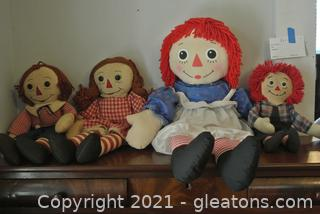 Raggedy Ann & Andy 1970's Dolls (Lot of 4)
