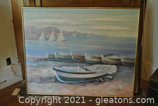 Lee Reynolds Textured Nautical Painting On Canvas