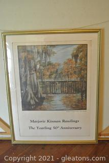 "Bridge at Cross Creek by Kate Barnes Framed Print  Scene from ""The Yearling"" by Margaret K. Rawlings"
