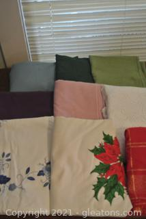 Table Cloths, Various Shapes and Sizes (Lot of 9)