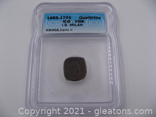1665-1700 Quattrino I.S. Milan Carlo II Coin