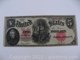 1907 Wood Chopper $5 Bill