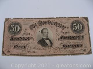 Authentic Confederate $50 Note