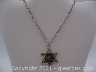 Sterling Silver Turquoise Star of David Necklace