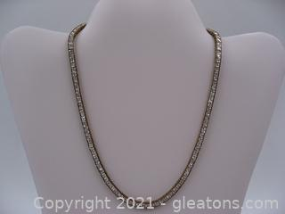 Gold Plated CZ Tennis Necklace
