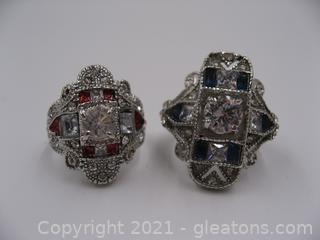Set of 2 Costume Art Deco Rings