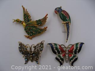 Lot of 4 Brooches