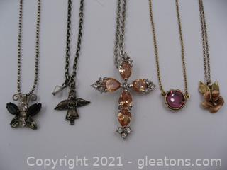 5 Costume Necklaces Lot 2