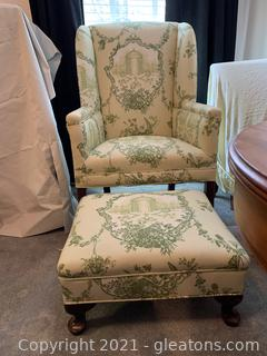 Wing Back Arm Chair with Ottoman