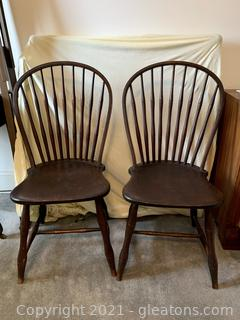 2 Amish Windsor Dining Chairs