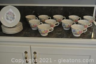 Harker Bakerite Teacups & Saucers (Lot of 19)