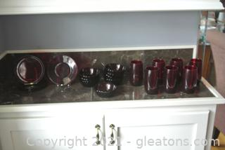Ruby Red Glass Pieces (Lot of 20)