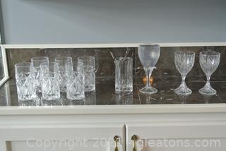Cut Glass Crystal Drinkware (Lot of 10)