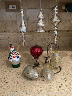 Lot of Holiday Ornaments-8 Items Ornate Decor, with 1 Stand