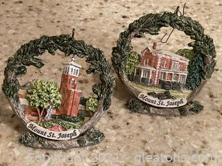 Mt.Saint Joseph Ornaments W/Stands – 2 Ornaments/2 Stands