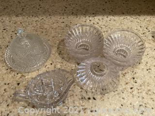 Ornate Cut Glass Round Butter Dish, Creamer , 5 Glass Candle Votives