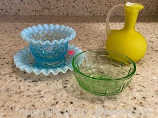 Colorful Glassware:Fenton Hobnail Cup/Saucer, Petite Yellow Vase, Hazel-Atlas Green Glass Bowl