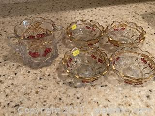 Gold Rimmed Dessert Dishes (4) with Compote Trimmed with Cherries
