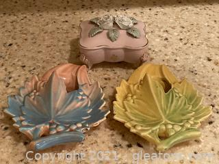 McCoy Wall Sconces and Victorian Ceramic Trinket Box