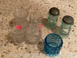 Vintage Green Hobnail Salt/Pepper Shaker, Blue Hobnail Cup and 4 Cut Glass Small Vases