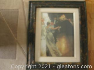 Beautiful Impressionistic Framed Print of Dancers at a Ball. Title, Artist Unknown