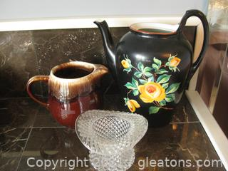 Two Pitchers and a Fenton Art Glass Hat Vase