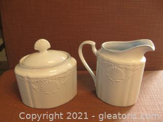 Mikasa South Hampton Blue Creamer and Lidded Sugar Bowl These are blue and match Lots 2111A and 2111B)