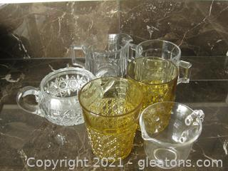 6 Piece Mixed Crystal and Pressed Glass Lot