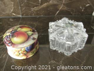Two Small Beautiful Trinket Dishes with Lids