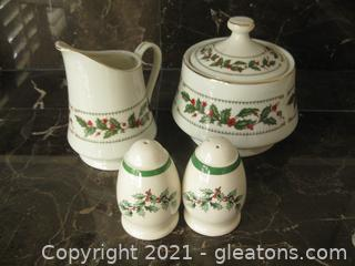 """4-Piece Set of """"Ivory Holly"""" Christmas Creamer/Sugar with Spode Salt and Pepper"""