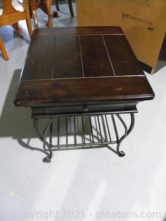 Distressed Wood and Metal Side Table A