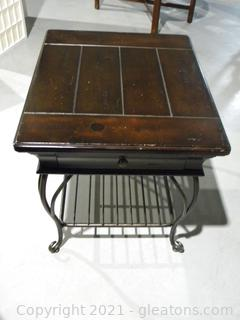 Distressed Wood and Metal Side Table B