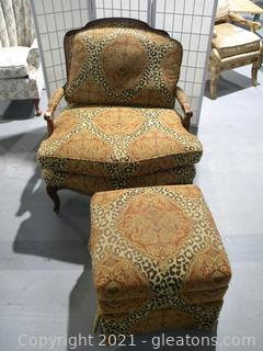 Patterned Bergere Chair and Ottoman
