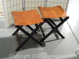 Pair of 2 Folding Leather Stools