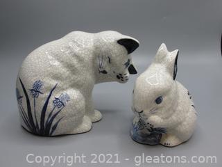 Debham Pottery Cat and Rabbit