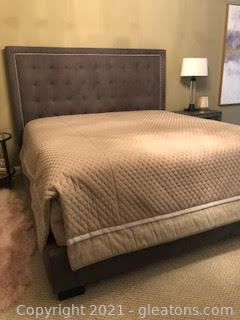 Bernhardt King Upholstered Headboard w/Side rails – Bedcovers Not Included