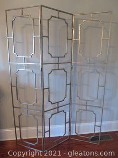Ballard Designs 3 Panel Room Divider Antique Silver