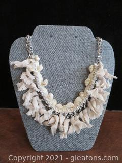 Charming Seashell, Gem and Ribbon Necklace