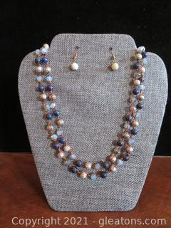 Beautiful Blue and Silver Necklace and Earrings