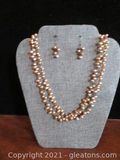 Striking Double Strand Copper Pearls and Earring Set